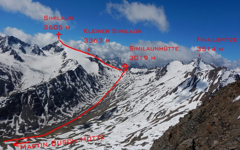 Tip na výstup na Similaun v Rakousku